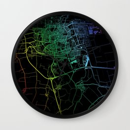Leeuwarden, Netherlands, City, Map, Rainbow, Map, Art, Print Wall Clock