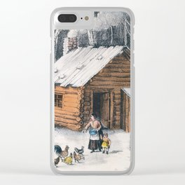 Vintage Home in The Wilderness Painting (1870) Clear iPhone Case