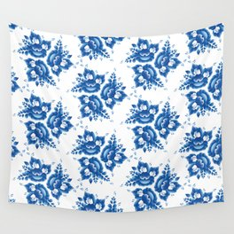 Silhouette of a beautiful horse's head with blue flowers Wall Tapestry