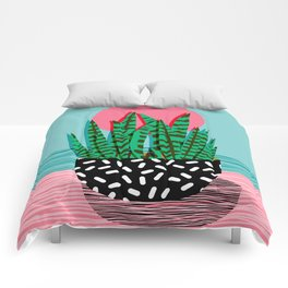 Edgy - wacka potted indoor house plant hipster retro throwback minimal 1980s 80s neon pop art Comforters