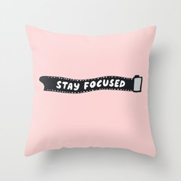Stay Focused 35mm Camera Film Throw Pillow