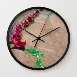 Stream of Boats Wall Clock