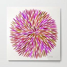 Pink Watercolor Burst Metal Print