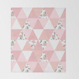 Quilt quilter cheater quilt pattern florals pink and white minimal modern nursery art Throw Blanket