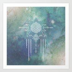 Mandala Flower of Life in Turquoise Stars Art Print