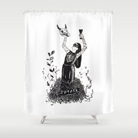 future Shower Curtains featuring Future by Justell Vonk