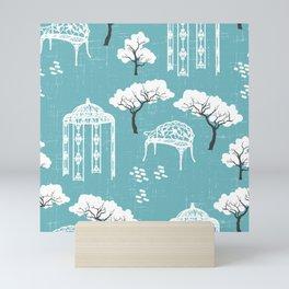Whimsical vintage secret garden modern toile pastel blue, white Mini Art Print