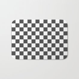 Gingham Dark Slate Grey Checked Pattern Bath Mat