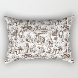 Alice in Wonderland | Toile de Jouy | Brown and White Rectangular Pillow