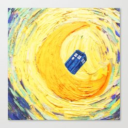 Tardis Flying With Circle Canvas Print
