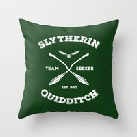quidditch Throw Pillows featuring Slytherin Quidditch Team Seeker: Green by Sharayah Mitchell
