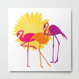 Colorful Flamingos Metal Print