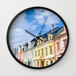 Colored Homes of Bergen, Norway Wall Clock