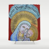 madonna Shower Curtains featuring IVF Madonna and Child by Eva May