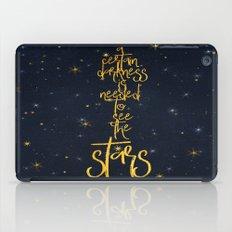 Darkness-Stars - sparkling night gold glitter typography iPad Case