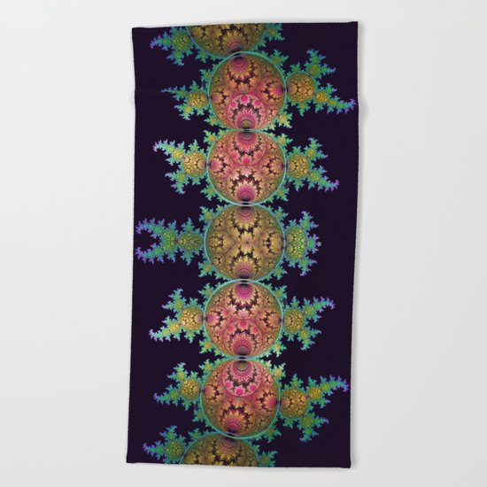 Amazing patterns in orbs and dragon spirals Beach Towel