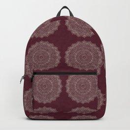 Rose Gold Marble Mandala Burgundy Textured Backpack