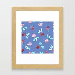 Clover Flowers Pattern on Periwinkle Blue Framed Art Print