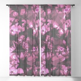 Metallic iridescent dark stars on a pink background in the projection. Sheer Curtain
