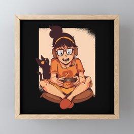 Funny Gamer Girl And Cat Framed Mini Art Print