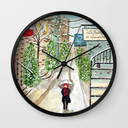 Snowfall in Quebec City Wall Clock