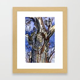 Two Owls and Two Crows Share One Tree Framed Art Print