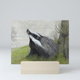 Misty Morning Badger Mini Art Print