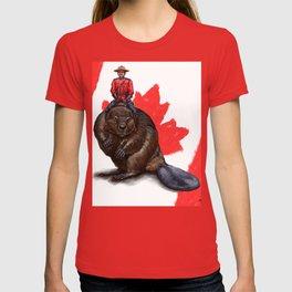 Canada, Mountie Riding a Giant Beaver T-shirt
