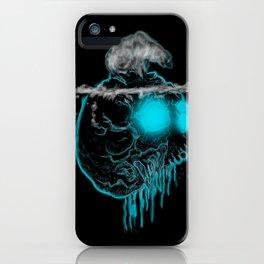 Calavera neón azul con oso polar calentamiento global iPhone Case