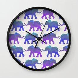 Follow The Leader - Painted Elephants in Royal Blue, Purple, & Mint Wall Clock