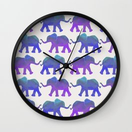 Follow The Leader - Painted Elephants in Royal Blue, Purple, & Mint Wall Clock