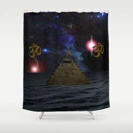 OM and the space Pyramid Shower Curtain