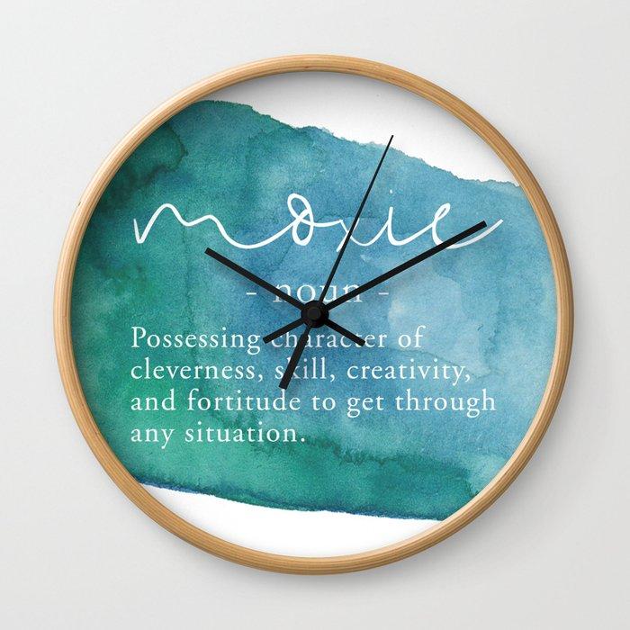 Moxie Definition - Blue Watercolor Wall Clock