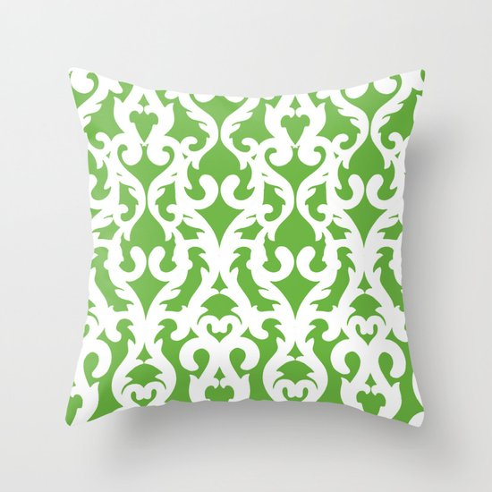 Modern Baroque Green Throw Pillow