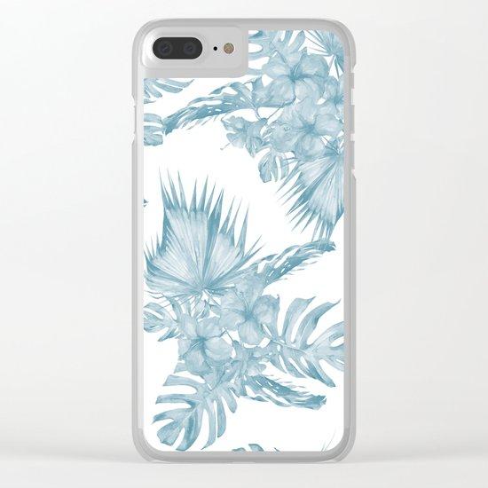 Palm Leaf Hibiscus Classic Blue + White Clear iPhone Case