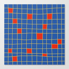 Abstract Red Squares Retro Grid Canvas Print