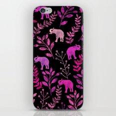 Watercolor Flowers & Elephants III iPhone & iPod Skin