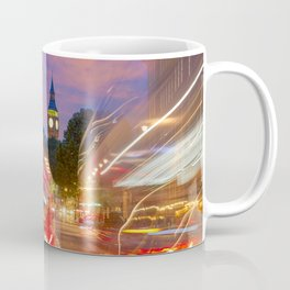 Traffic lights in London with Big Ben in the background Coffee Mug