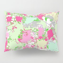 Sketchy Fun Flowers in Shades of Pink, Green and Yellow Pillow Sham