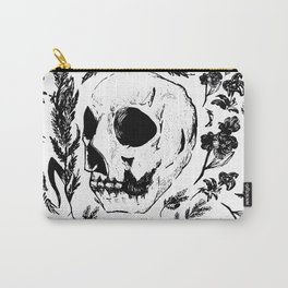 Skull & Florals | Monotone Carry-All Pouch