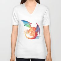 charizard V-neck T-shirts featuring Charizard by Natalie Huber