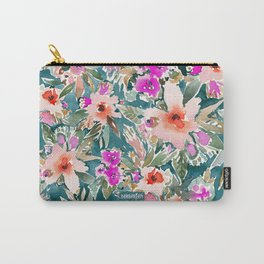 VICARIOUS VACATION Lush Tropical Floral Carry-All Pouch