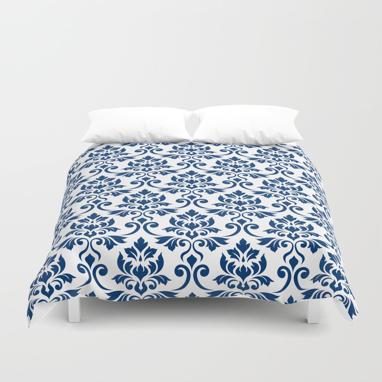 Dark Blue On White Duvet Cover