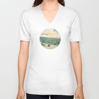 road V-neck T-shirts featuring NEVER STOP EXPLORING - vintage volkswagen van by Leslee Mitchell