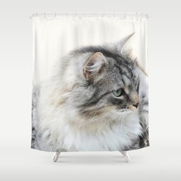 Silver Cat Shower Curtain