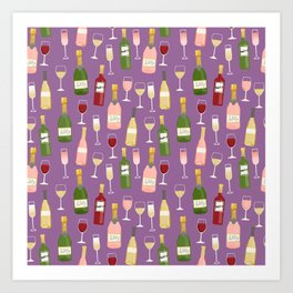 Rose drinks champagne wine bar art food fight apparel and gifts purple Art Print