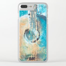 Teal Guitar Clear iPhone Case