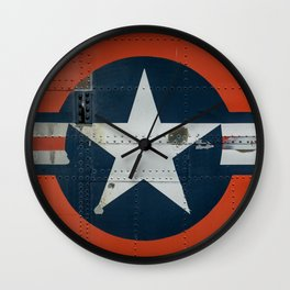 Aircraft Roundel US Air Force Insignia on Orange Airframe Wall Clock