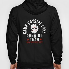 Friday The 13Th Camp Crystal Lake Running Team Voorhees Charcoal Gray Camp T-Shirt Hoody