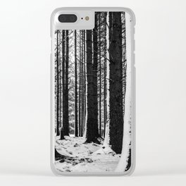 Snowy tree trunks Clear iPhone Case